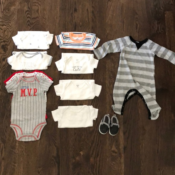 Baby & Toddler Clothing Nwot Just One You Carter's 9 Month Long Sleeve One Piece Top Shirt Boy Set Bear One-pieces